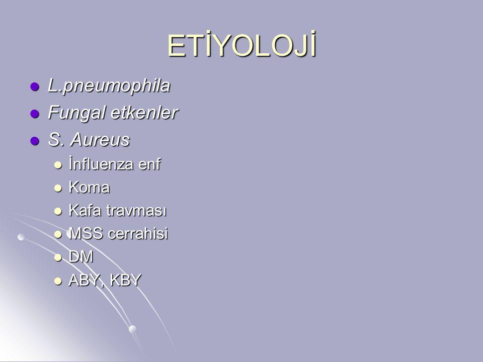 ETİYOLOJİ L.pneumophila Fungal etkenler S. Aureus İnfluenza enf Koma