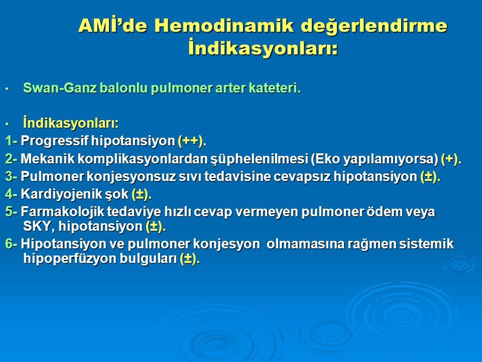 AMİ'de Hemodinamik değerlendirme İndikasyonları: