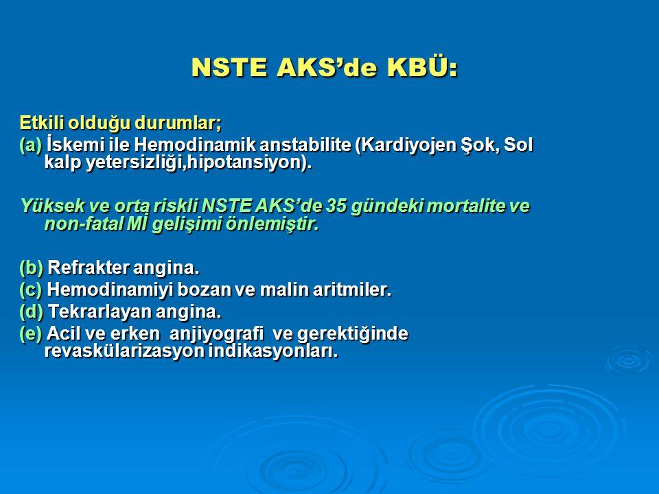 NSTE AKS'de KBÜ: Etkili olduğu durumlar;
