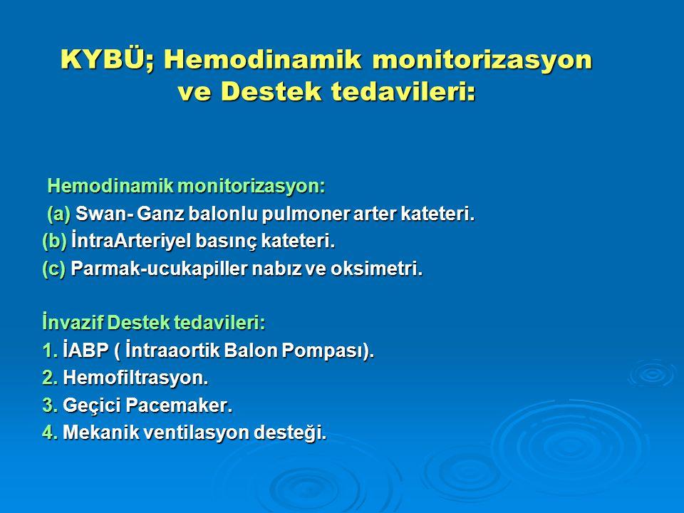 KYBÜ; Hemodinamik monitorizasyon ve Destek tedavileri: