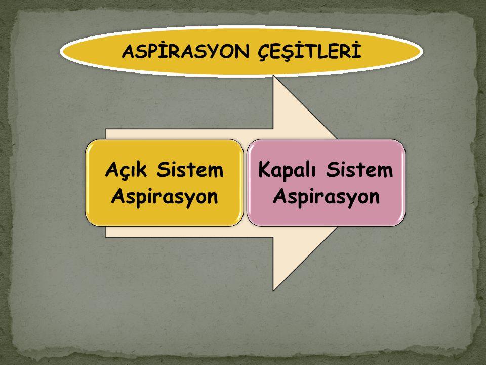 Açık Sistem Aspirasyon Kapalı Sistem Aspirasyon