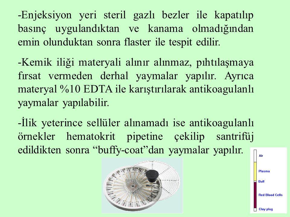 -Enjeksiyon yeri steril gazlı bezler ile kapatılıp basınç uygulandıktan ve kanama olmadığından emin olunduktan sonra flaster ile tespit edilir.