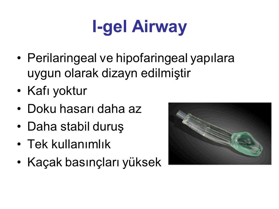 I-gel Airway Perilaringeal ve hipofaringeal yapılara uygun olarak dizayn edilmiştir. Kafı yoktur. Doku hasarı daha az.