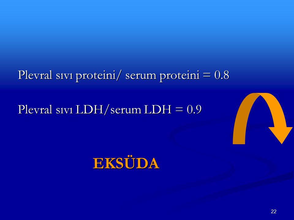 Plevral sıvı proteini/ serum proteini = 0.8