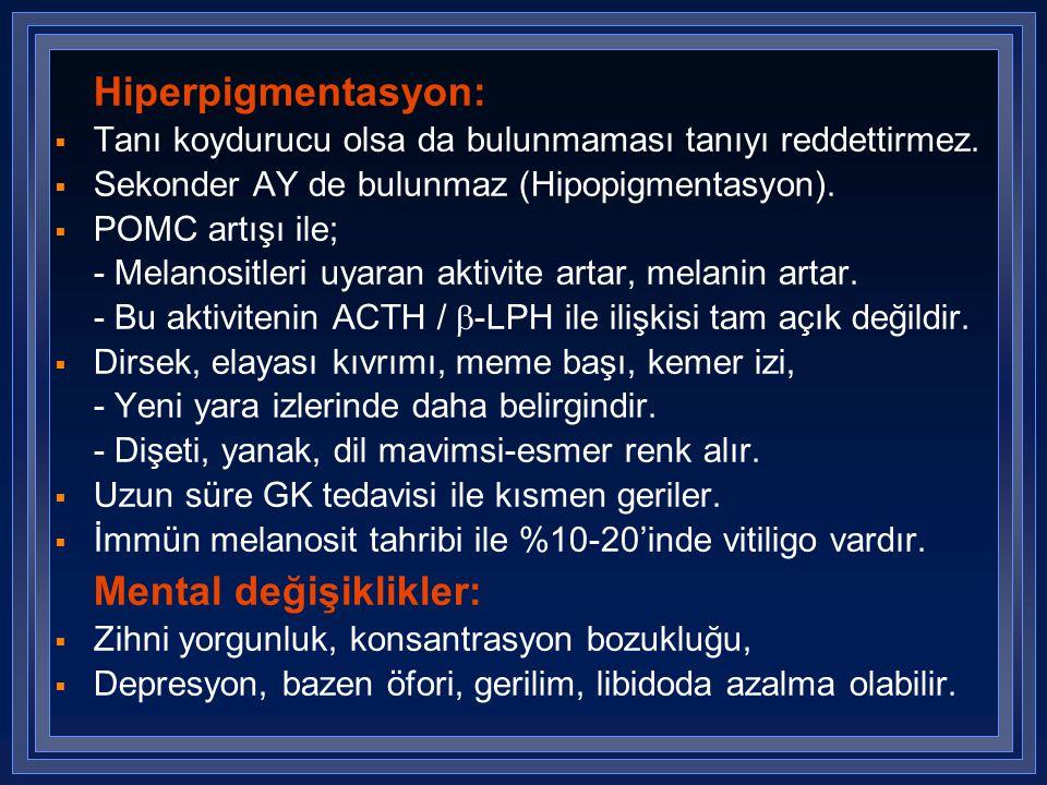 Hiperpigmentasyon: Tanı koydurucu olsa da bulunmaması tanıyı reddettirmez. Sekonder AY de bulunmaz (Hipopigmentasyon).