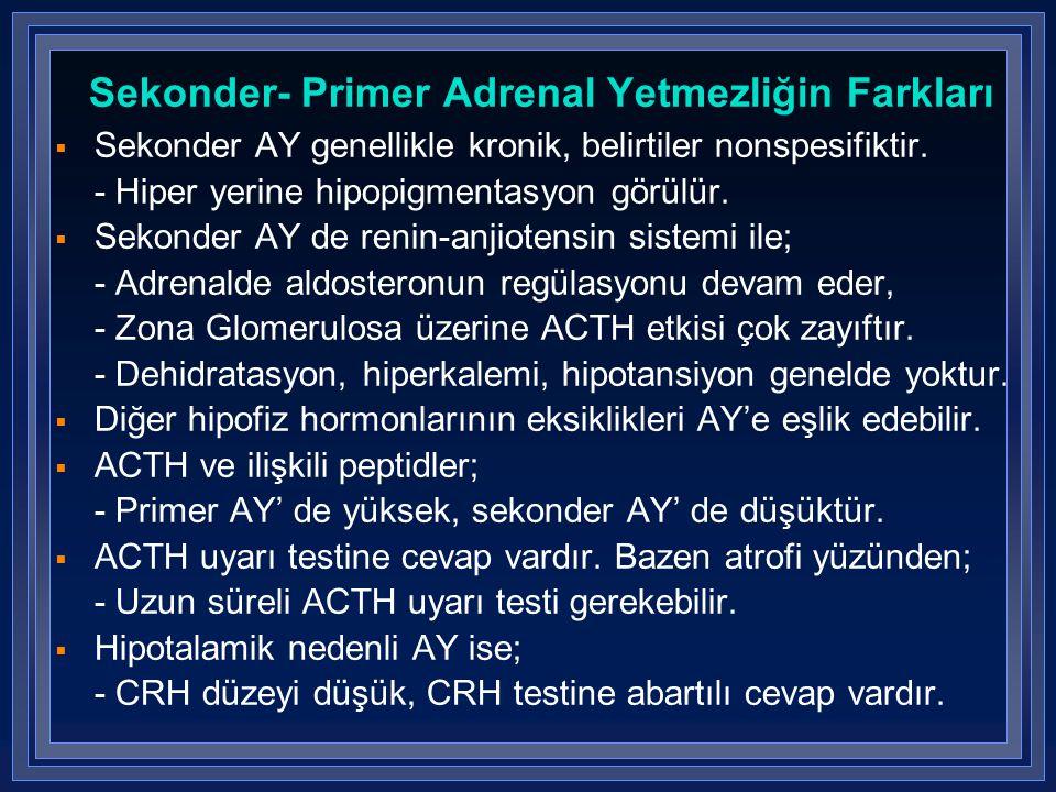 Sekonder- Primer Adrenal Yetmezliğin Farkları
