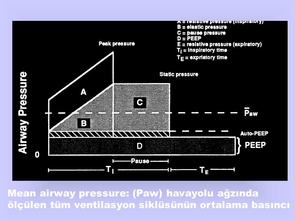 Mean airway pressure: (Paw) havayolu ağzında