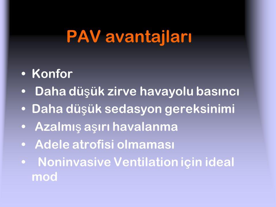 PAV avantajları Konfor Daha düşük zirve havayolu basıncı