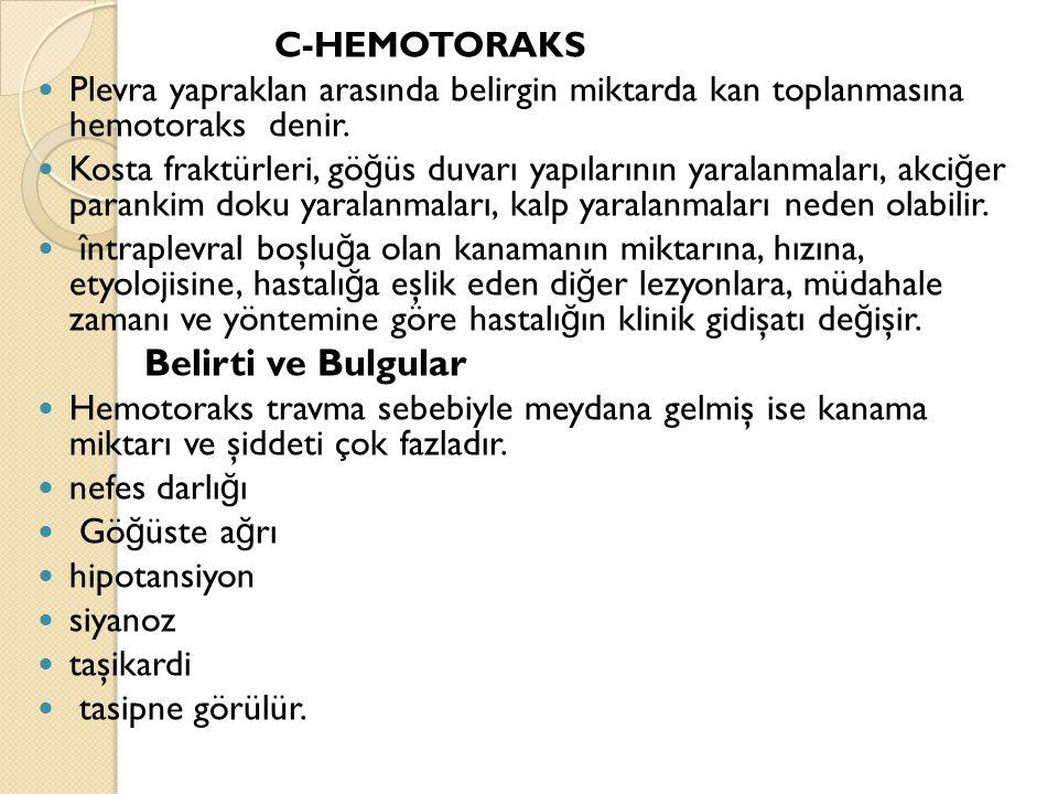 Belirti ve Bulgular C-HEMOTORAKS