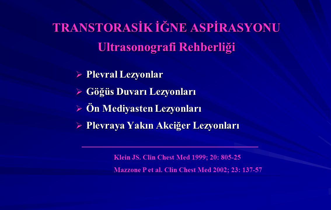 TRANSTORASİK İĞNE ASPİRASYONU Ultrasonografi Rehberliği