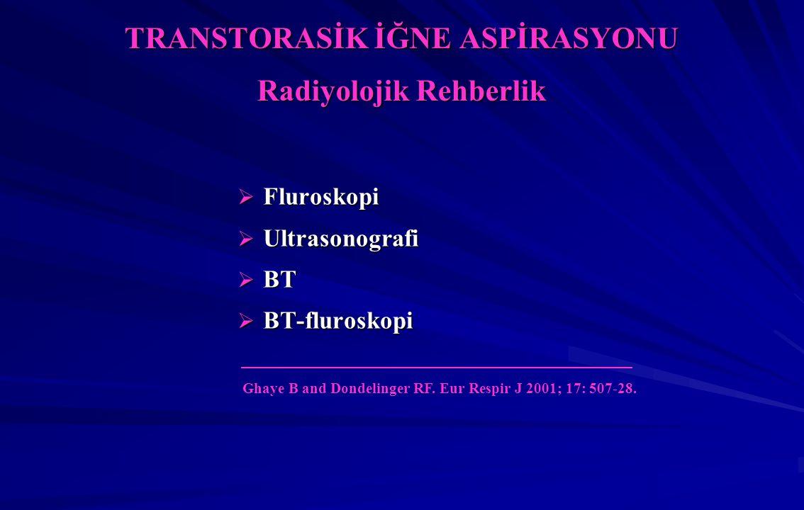 TRANSTORASİK İĞNE ASPİRASYONU Radiyolojik Rehberlik