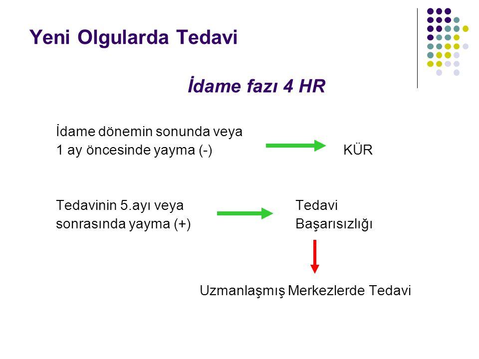 Yeni Olgularda Tedavi İdame fazı 4 HR İdame dönemin sonunda veya