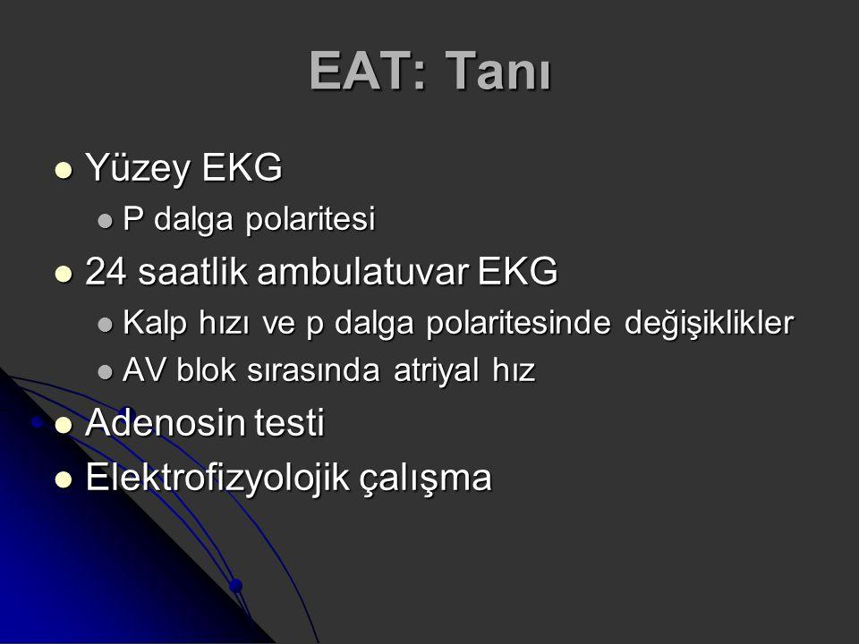 EAT: Tanı Yüzey EKG 24 saatlik ambulatuvar EKG Adenosin testi