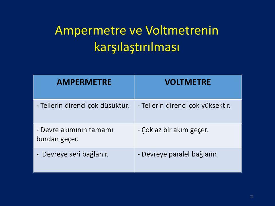 Ampermetre ve Voltmetrenin karşılaştırılması