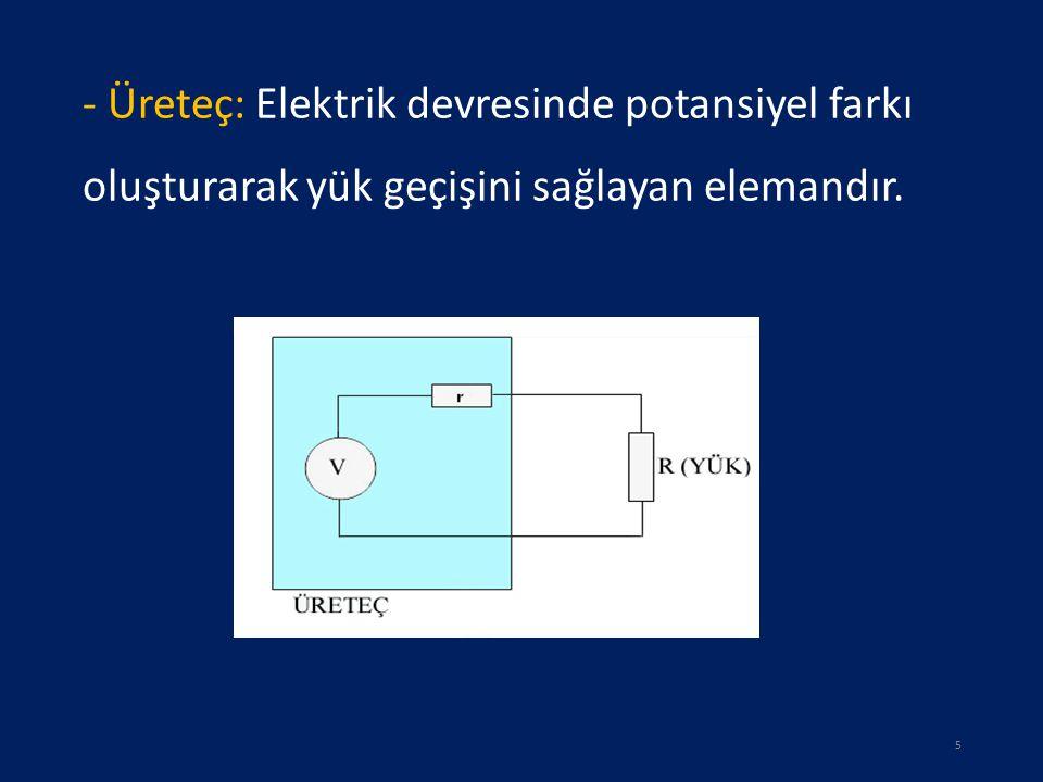 - Üreteç: Elektrik devresinde potansiyel farkı oluşturarak yük geçişini sağlayan elemandır.