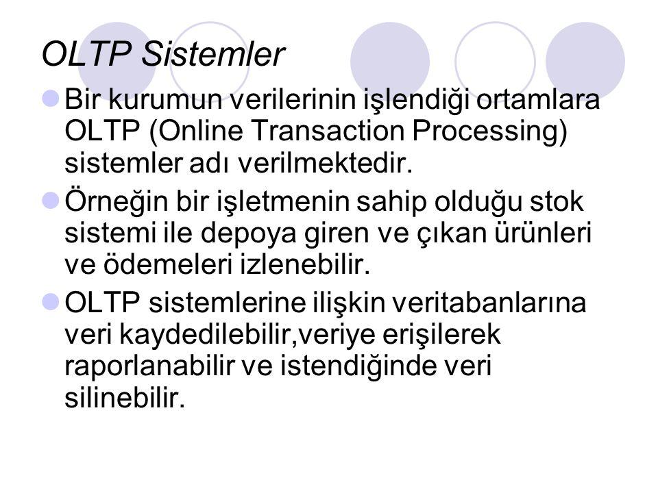 OLTP Sistemler Bir kurumun verilerinin işlendiği ortamlara OLTP (Online Transaction Processing) sistemler adı verilmektedir.