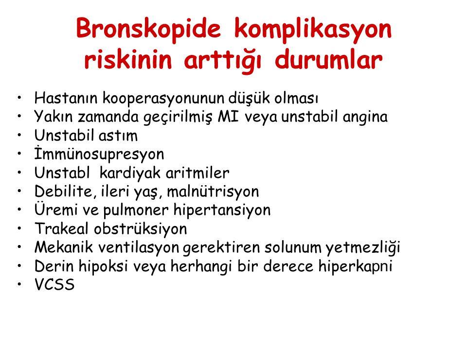 Bronskopide komplikasyon riskinin arttığı durumlar