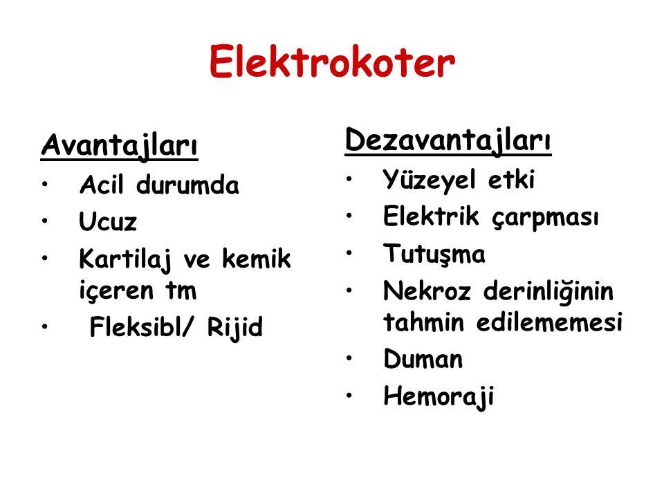 Elektrokoter Dezavantajları Avantajları Yüzeyel etki Acil durumda