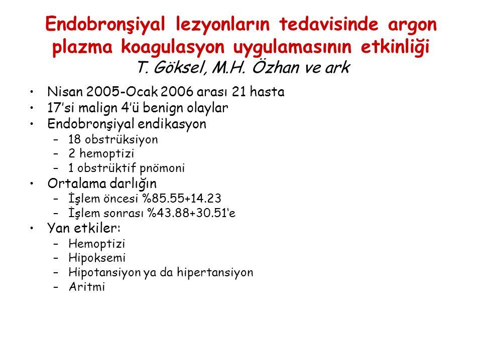 Endobronşiyal lezyonların tedavisinde argon plazma koagulasyon uygulamasının etkinliği T. Göksel, M.H. Özhan ve ark