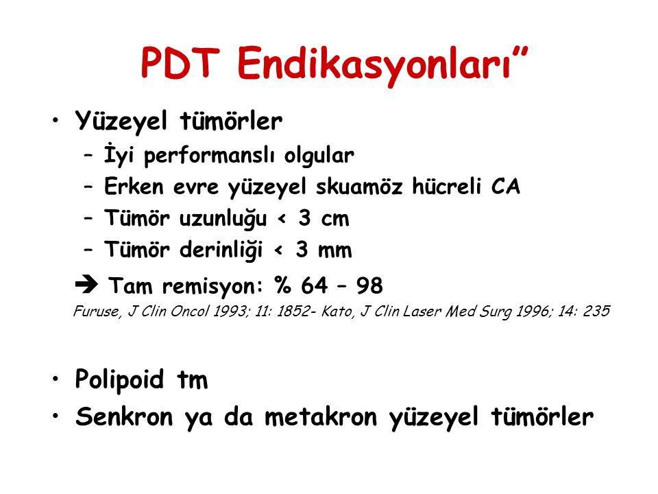 PDT Endikasyonları Yüzeyel tümörler  Tam remisyon: % 64 – 98