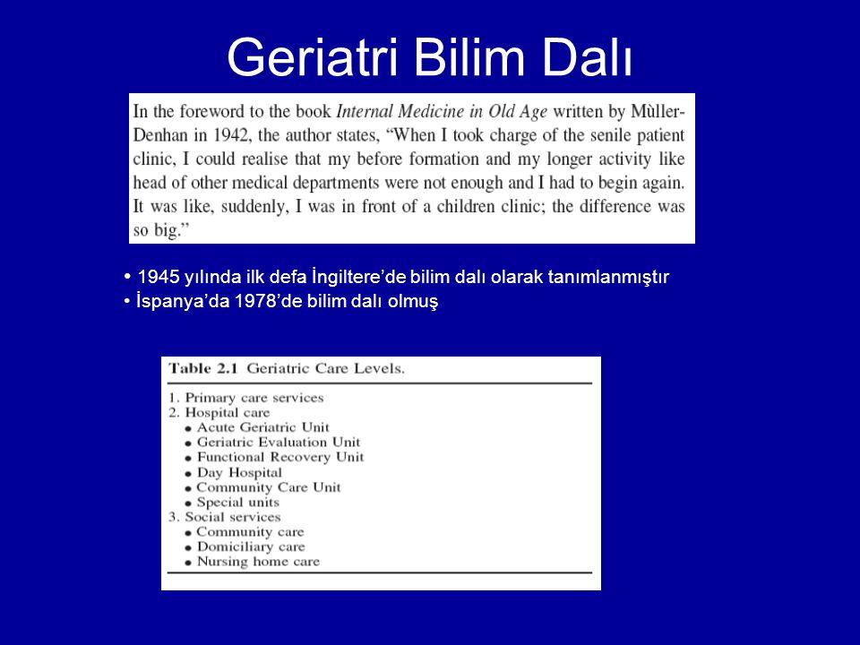Geriatri Bilim Dalı 1945 yılında ilk defa İngiltere'de bilim dalı olarak tanımlanmıştır.