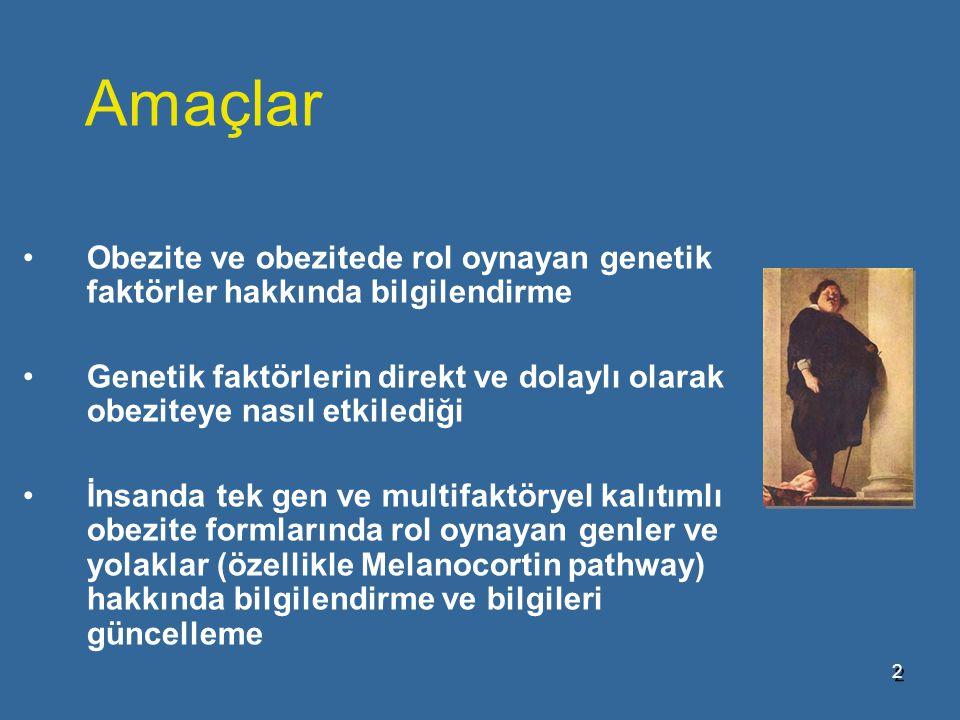 Amaçlar Obezite ve obezitede rol oynayan genetik faktörler hakkında bilgilendirme.