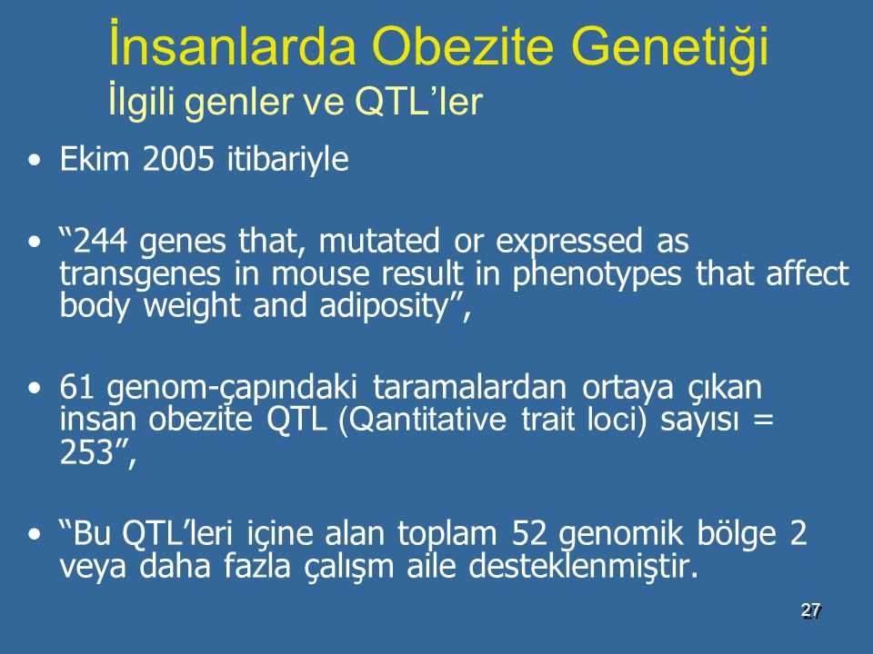 İnsanlarda Obezite Genetiği İlgili genler ve QTL'ler