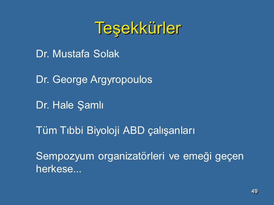 Teşekkürler Dr. Mustafa Solak Dr. George Argyropoulos Dr. Hale Şamlı