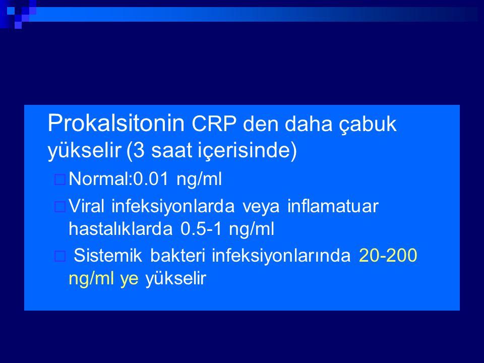 Prokalsitonin CRP den daha çabuk yükselir (3 saat içerisinde)