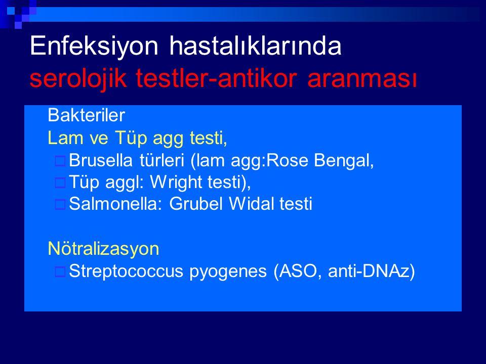 Enfeksiyon hastalıklarında serolojik testler-antikor aranması