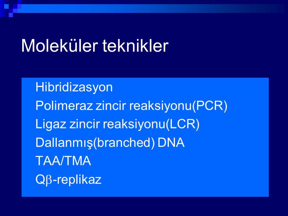 Moleküler teknikler Hibridizasyon Polimeraz zincir reaksiyonu(PCR)