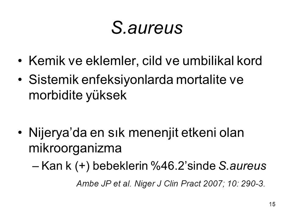 S.aureus Kemik ve eklemler, cild ve umbilikal kord