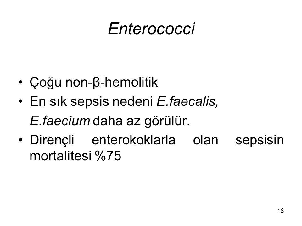 Enterococci Çoğu non-β-hemolitik En sık sepsis nedeni E.faecalis,