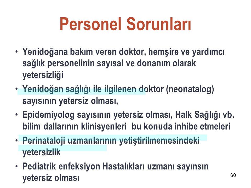 Personel Sorunları Yenidoğana bakım veren doktor, hemşire ve yardımcı sağlık personelinin sayısal ve donanım olarak yetersizliği.