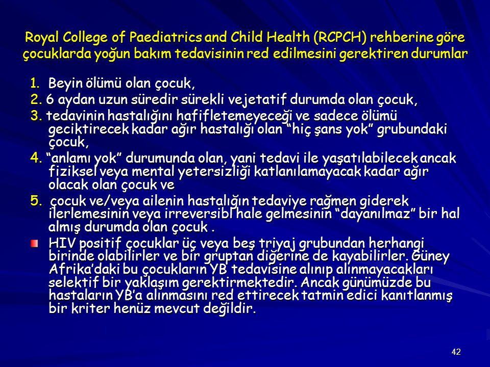 Royal College of Paediatrics and Child Health (RCPCH) rehberine göre çocuklarda yoğun bakım tedavisinin red edilmesini gerektiren durumlar