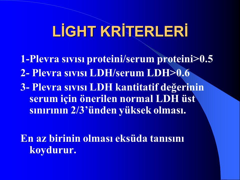 LİGHT KRİTERLERİ 1-Plevra sıvısı proteini/serum proteini>0.5
