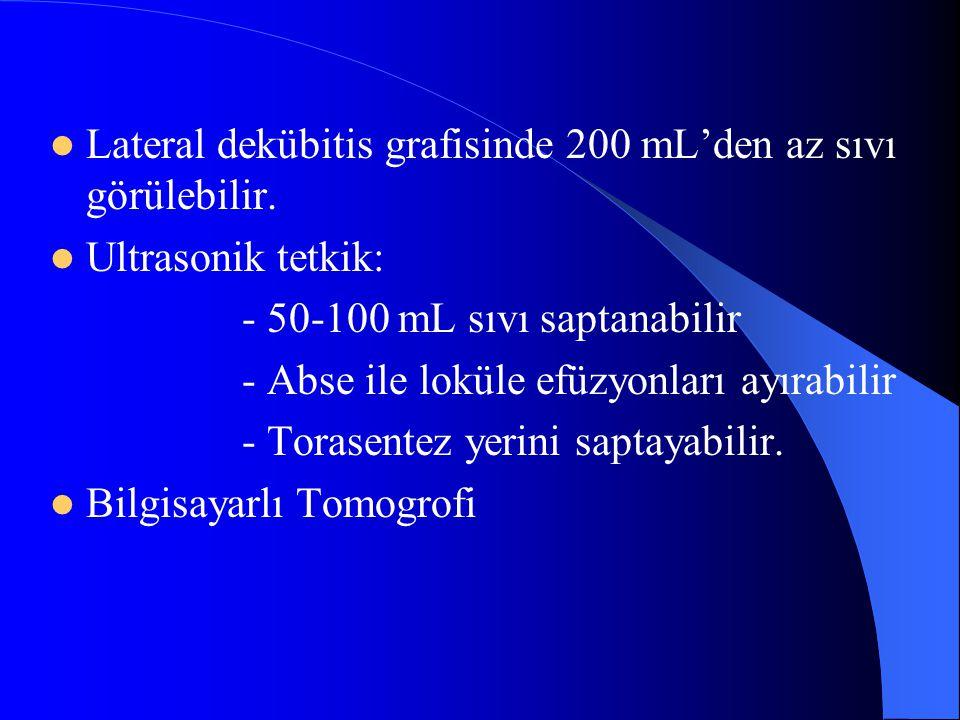 Lateral dekübitis grafisinde 200 mL'den az sıvı görülebilir.