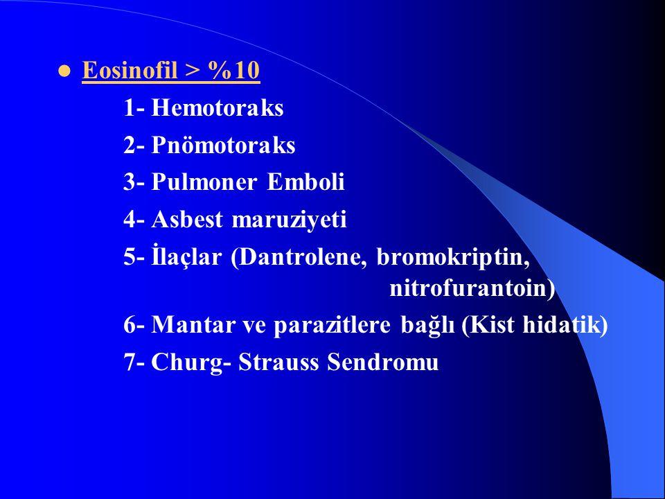 Eosinofil > %10 1- Hemotoraks. 2- Pnömotoraks. 3- Pulmoner Emboli. 4- Asbest maruziyeti.