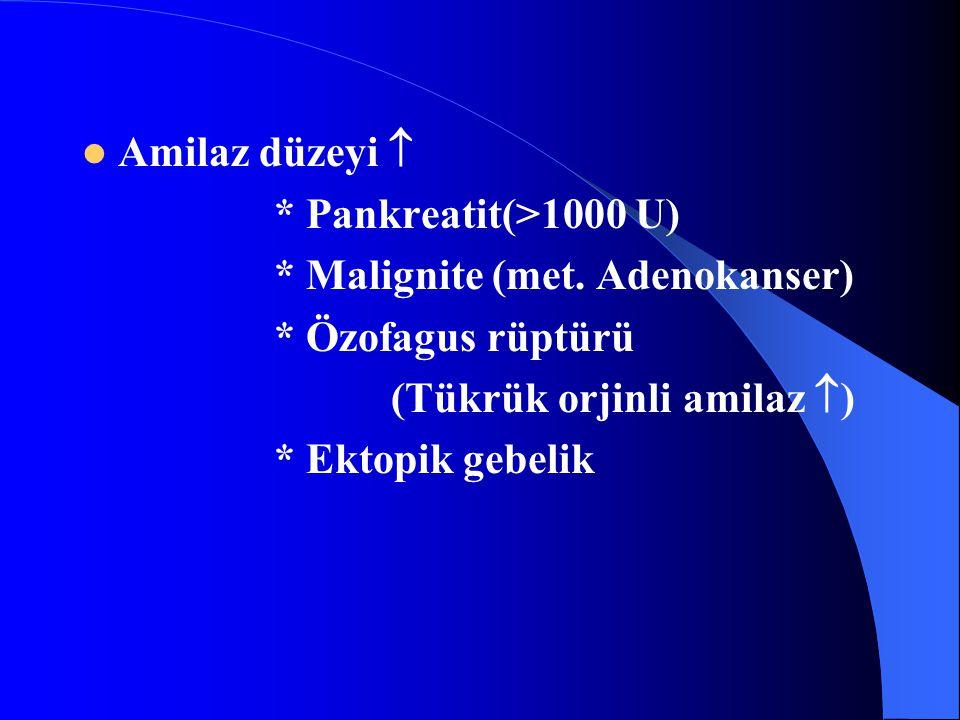 Amilaz düzeyi  * Pankreatit(>1000 U) * Malignite (met. Adenokanser) * Özofagus rüptürü. (Tükrük orjinli amilaz )