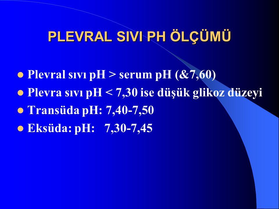 PLEVRAL SIVI PH ÖLÇÜMÜ Plevral sıvı pH > serum pH (&7,60)