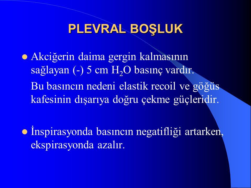 PLEVRAL BOŞLUK Akciğerin daima gergin kalmasının sağlayan (-) 5 cm H2O basınç vardır.