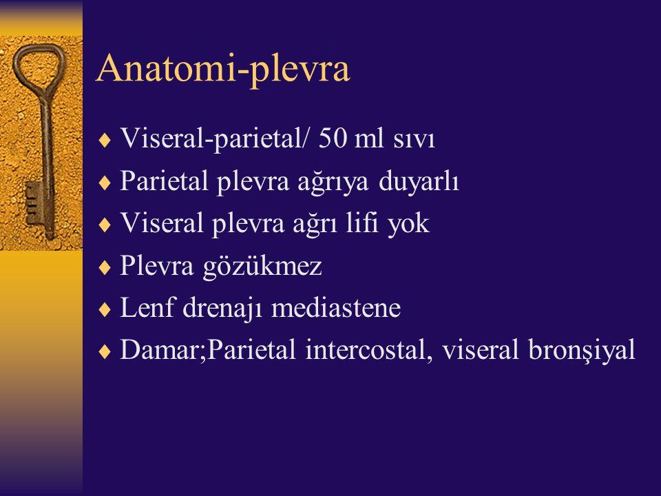 Anatomi-plevra Viseral-parietal/ 50 ml sıvı