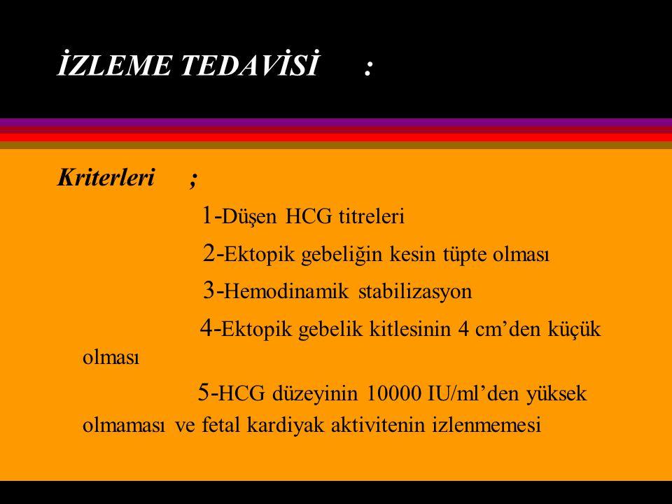 İZLEME TEDAVİSİ : Kriterleri ; 1-Düşen HCG titreleri