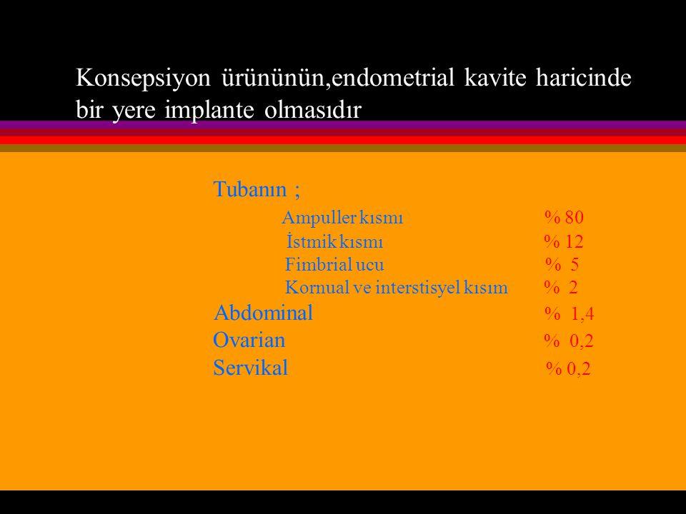 Konsepsiyon ürününün,endometrial kavite haricinde bir yere implante olmasıdır Tubanın ; Ampuller kısmı % 80 İstmik kısmı % 12 Fimbrial ucu % 5 Kornual ve interstisyel kısım % 2 Abdominal % 1,4 Ovarian % 0,2 Servikal % 0,2