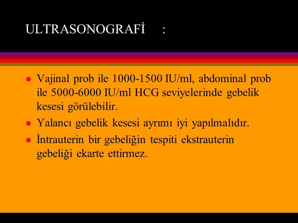 ULTRASONOGRAFİ : Vajinal prob ile 1000-1500 IU/ml, abdominal prob ile 5000-6000 IU/ml HCG seviyelerinde gebelik kesesi görülebilir.