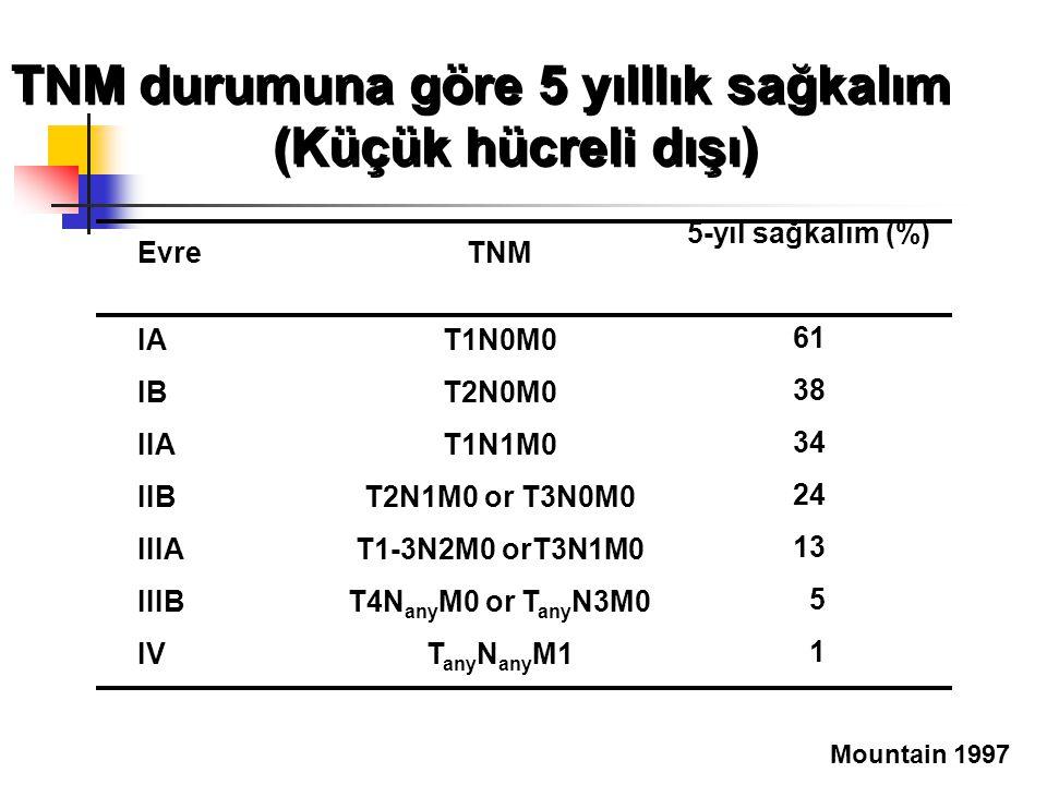 TNM durumuna göre 5 yılllık sağkalım (Küçük hücreli dışı)