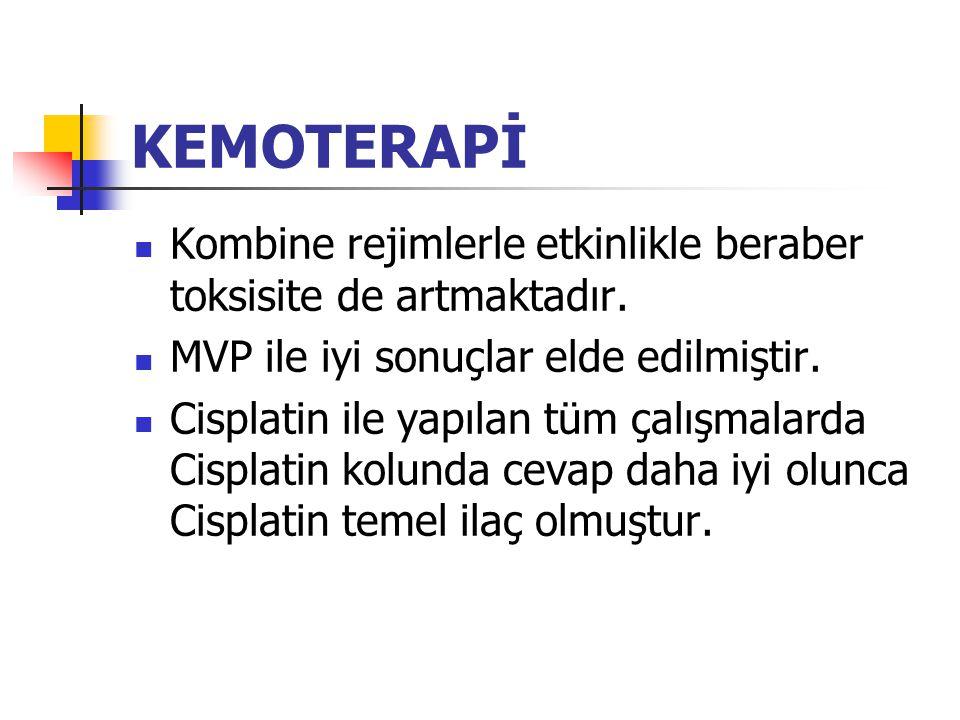 KEMOTERAPİ Kombine rejimlerle etkinlikle beraber toksisite de artmaktadır. MVP ile iyi sonuçlar elde edilmiştir.