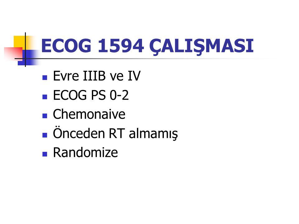 ECOG 1594 ÇALIŞMASI Evre IIIB ve IV ECOG PS 0-2 Chemonaive