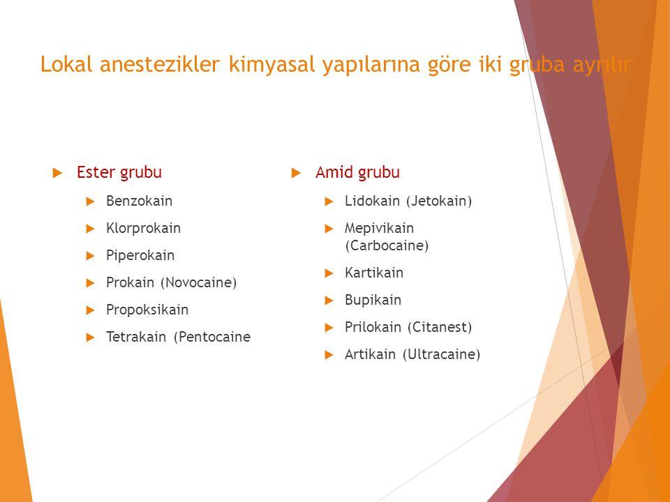 Lokal anestezikler kimyasal yapılarına göre iki gruba ayrılır