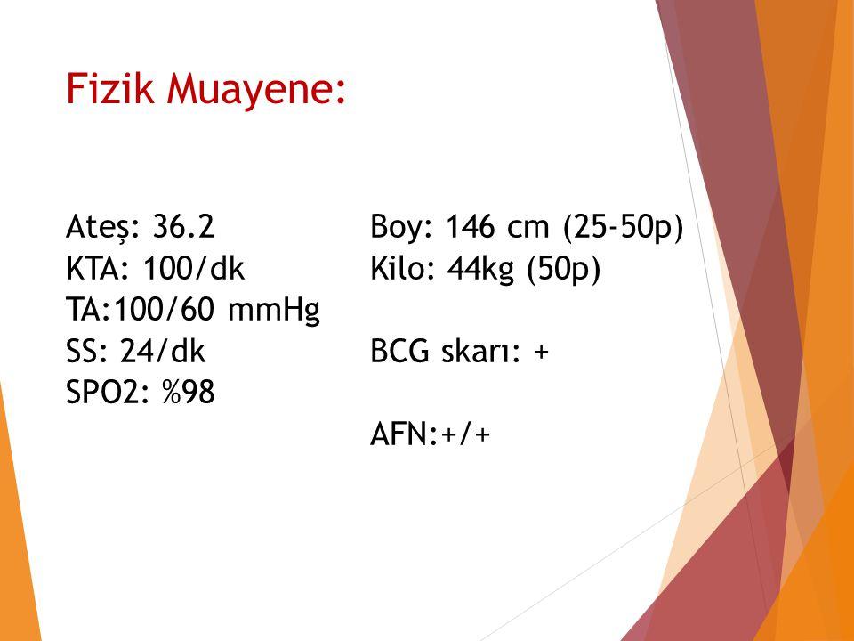 Fizik Muayene: Ateş: 36.2 KTA: 100/dk TA:100/60 mmHg SS: 24/dk